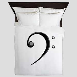Bass Clef Casual Style Black White Queen Duvet