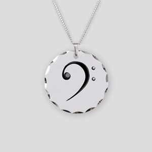 Bass Clef Casual Style Black White Necklace