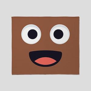 Poop Emoji Face Throw Blanket