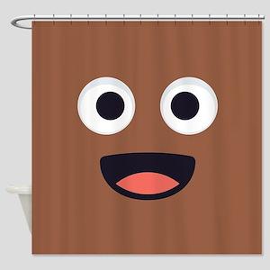 Poop Emoji Face Shower Curtain