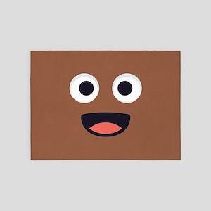 Poop Emoji Face 5'x7'Area Rug