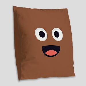 Poop Emoji Face Burlap Throw Pillow