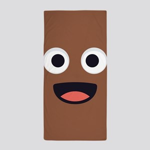 Poop Emoji Face Beach Towel