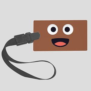 Poop Emoji Face Large Luggage Tag