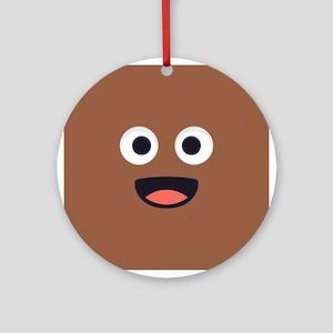 Poop Emoji Face Round Ornament