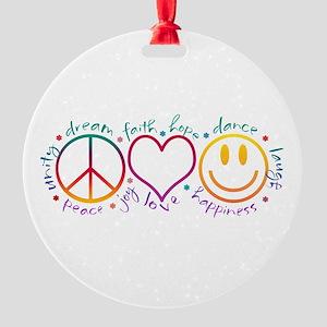 Peace Love Laugh Round Ornament