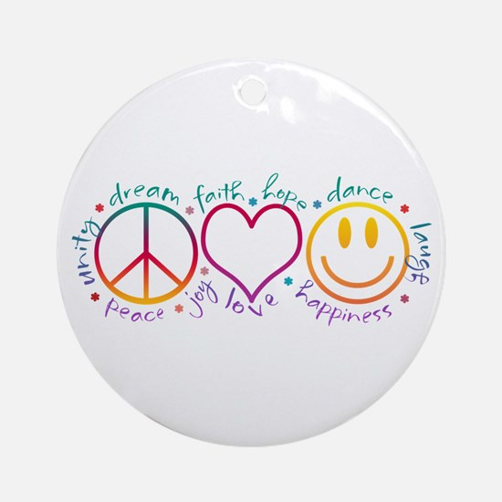 Peace Love Laugh Ornament (Round)