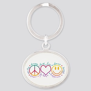 Peace Love Laugh Oval Keychain