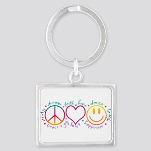Peace Love Laugh Landscape Keychain