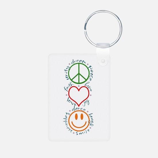 Peace Love Laugh Keychains