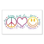 Peace Love Laugh Sticker (Rectangle 50 pk)