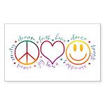 Peace Love Laugh Sticker (Rectangle 10 pk)