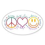 Peace Love Laugh Sticker (Oval 10 pk)