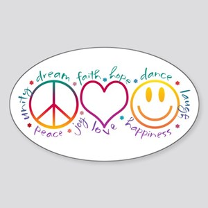 Peace Love Laugh Sticker (Oval)