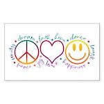 Peace Love Laugh Sticker (Rectangle)