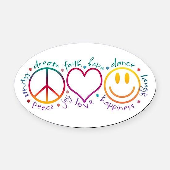 Peace Love Laugh Oval Car Magnet