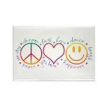 Peace Love Laugh Rectangle Magnet (100 pack)