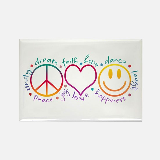 Peace Love Laugh Rectangle Magnet
