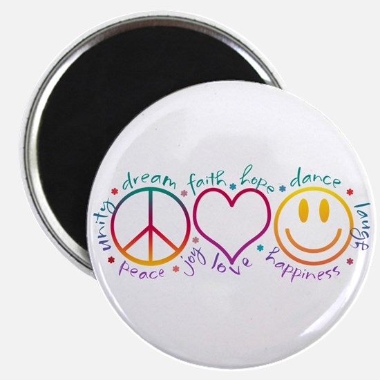 "Peace Love Laugh 2.25"" Magnet (10 pack)"