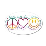 Peace Love Laugh 35x21 Oval Wall Decal