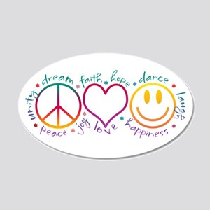 Peace Love Laugh 20x12 Oval Wall Decal