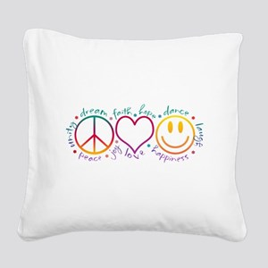 Peace Love Laugh Square Canvas Pillow