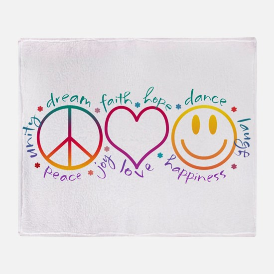 Peace Love Laugh Throw Blanket