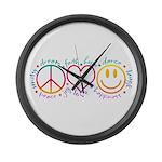 Peace Love Laugh Large Wall Clock