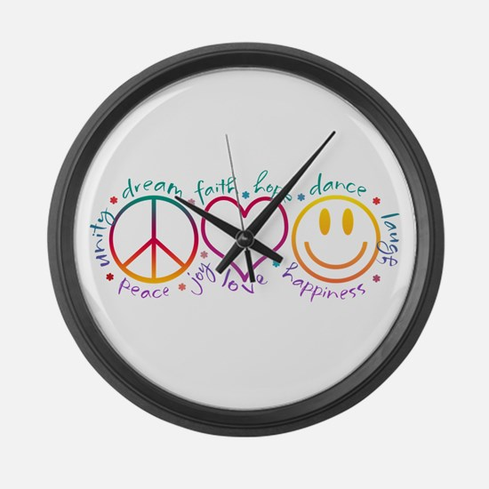 Peace Love Laugh Large Wall Clock