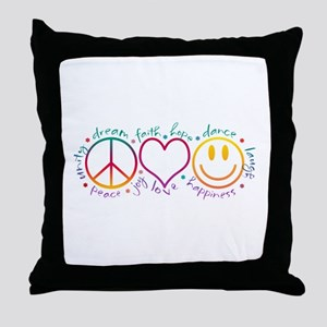 Peace Love Laugh Throw Pillow
