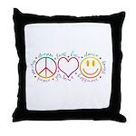 Peace Love Laugh Throw Pillow