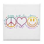 Peace Love Laugh Tile Coaster