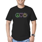 Peace Love Laugh Men's Fitted T-Shirt (dark)