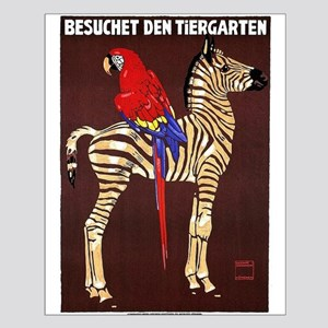 Zebra, Macaw, Zoo, Vintage Poster Posters
