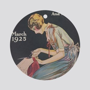 Woman, Seamstress, Vintage Poster Ornament (Round)