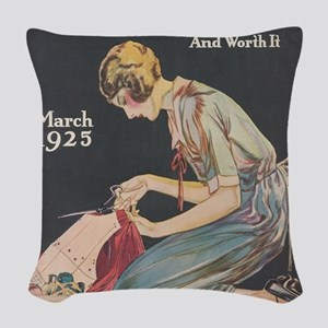Woman, Seamstress, Vintage Poster Woven Throw Pill
