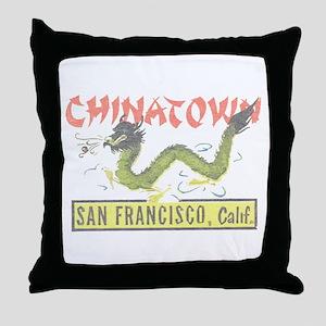 Vintage Chinatown Throw Pillow