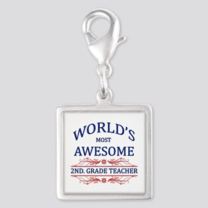 World's Most Awesome 2nd. Grade Teacher Silver Squ