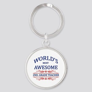 World's Most Awesome 2nd. Grade Teacher Round Keyc