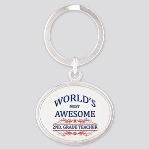 World's Most Awesome 2nd. Grade Teacher Oval Keych