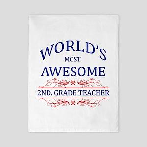 World's Most Awesome 2nd. Grade Teacher Twin Duvet
