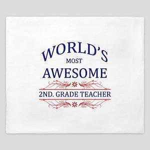 World's Most Awesome 2nd. Grade Teacher King Duvet