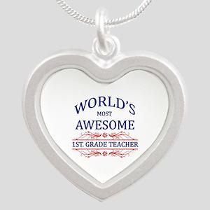 World's Most Awesome 1st Grade Teacher Silver Hear
