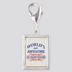 World's Most Awesome 1st Grade Teacher Silver Port