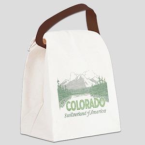 Vintage Colorado Mountains Canvas Lunch Bag