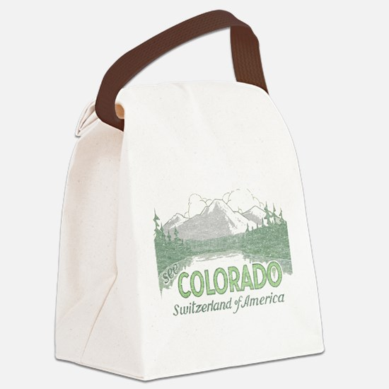 Vintage Colorado Mountains Canvas Lunch Bag