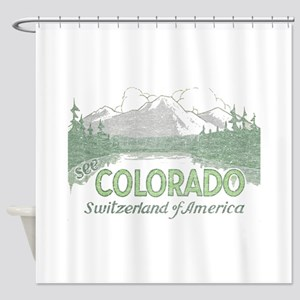 Vintage Colorado Mountains Shower Curtain
