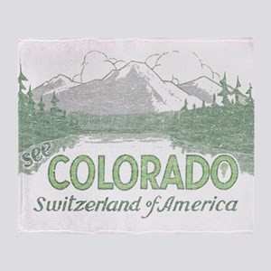 Vintage Colorado Mountains Throw Blanket