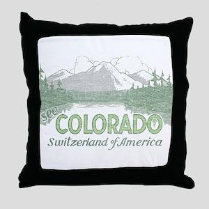 Vintage Colorado Mountains Throw Pillow