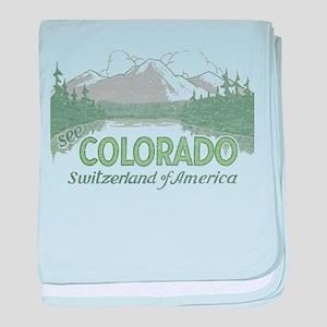 Vintage Colorado Mountains baby blanket